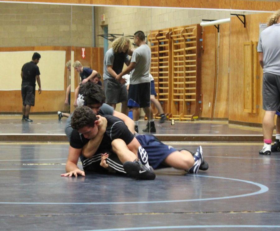 Senior Sean Gonzalez puts Senior Eddie Roa in a submission hold.