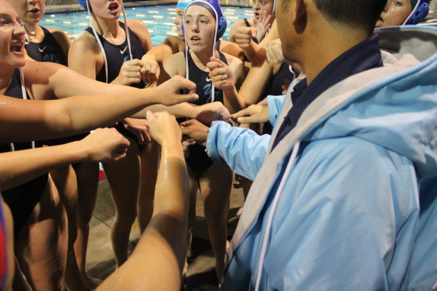 The+Varsity+Girls+Water+Polo+Team+celebrate+a+win+against+Our+Lady+of+Peace+Academy.+