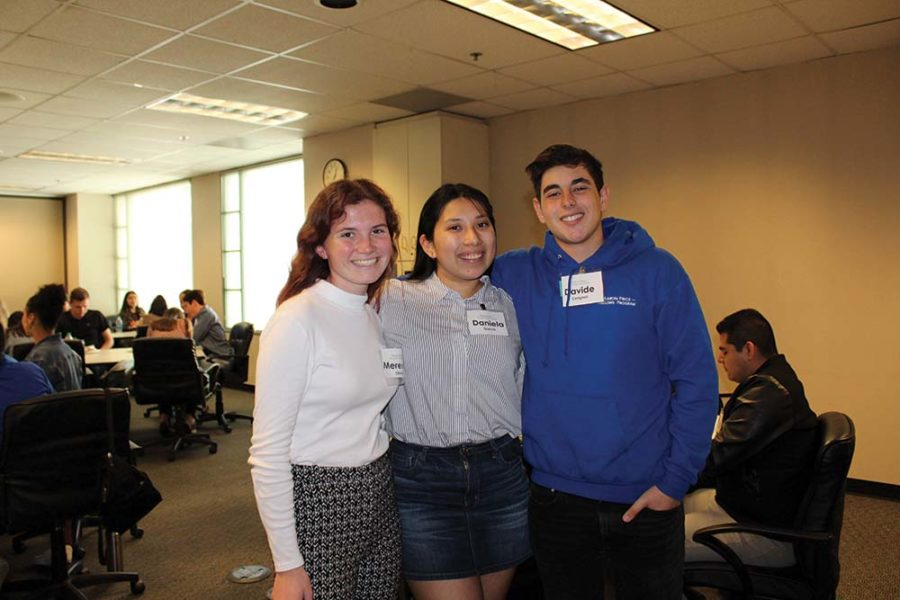 Juniors Meredith Olney, Daniela Garcia, and Davide Cerignoli at an event in which the fellows met and spoke with attorneys and judges at the Superior Court.