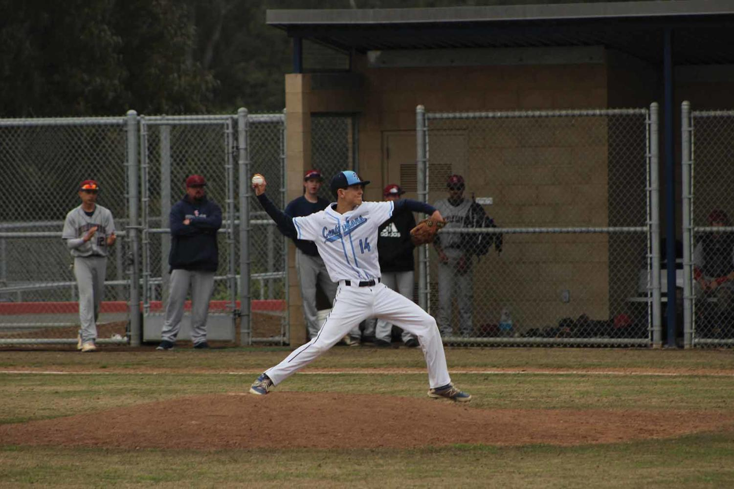 Senior Pitcher Aidan Kennedy takes the mound in a pre-League game versus Steele Canyon High.