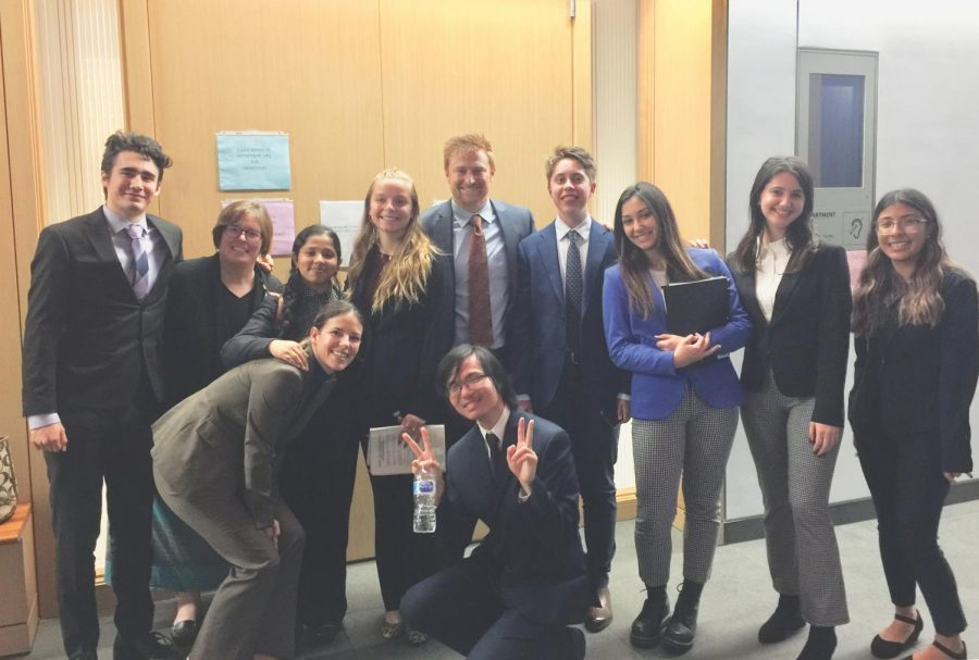 The UC High Mock Trial Team competes in a competition at the New Central Courthouse in Downtown San Diego.
