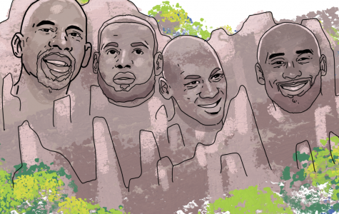 Michael Jordan, Kobe Bryant, Kareem Abdul-Jabaar, and Lebron James on Mount Rushmore as they battle for the title of