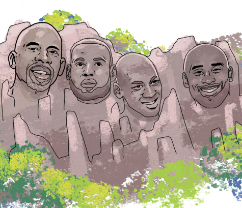 "Michael Jordan, Kobe Bryant, Kareem Abdul-Jabaar, and Lebron James on Mount Rushmore as they battle for the title of  ""greatest of all time."""