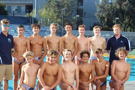 The 2019 Boys Water Polo Team poses for a team picture.