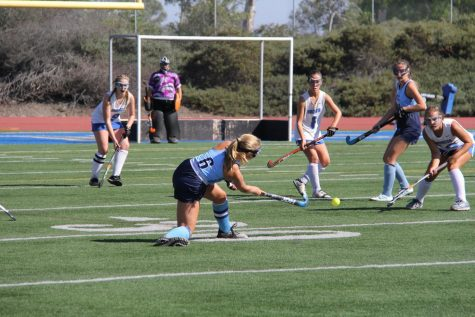 Midfielder Senior Olivia Upham makes a pass to Midfielder Junior Angela Cook in a pre-League game against Rancho Bernardo High in the 2019-2020 season.