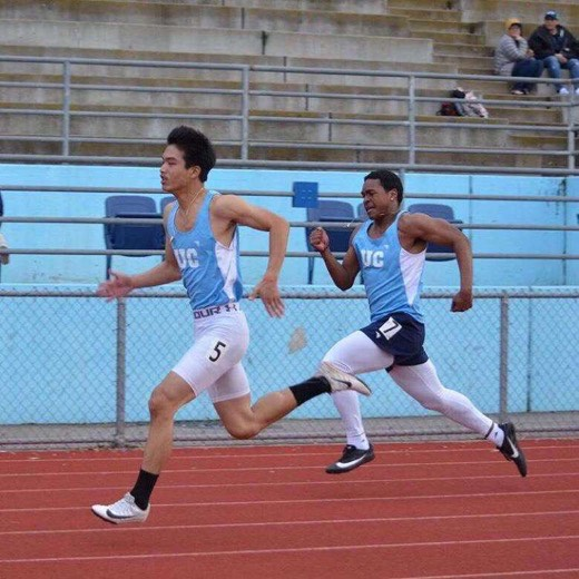 Athletes compete in a race during the 2019 Track and Field season.